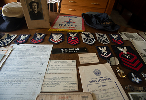 WWII Veteran Melva's arrangement of rank and medals from WAVES service.