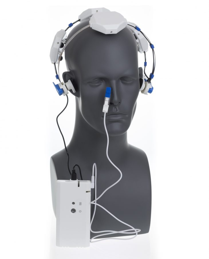 Mannequin wearing light-emitting diode headset