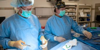 Dr. Dan Hall and OR technician Mark Yost