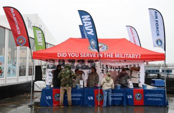 Veterans visit the VA New England Healthcare System outreach tent at Gillette Stadium Nov. 24.