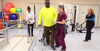 Shoe slide helps Veterans relearn to walk.