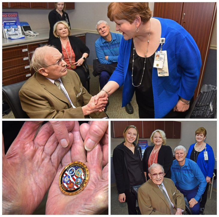 Army Air Corps Veteran Bruce Ingels received VA Arkansas coin.