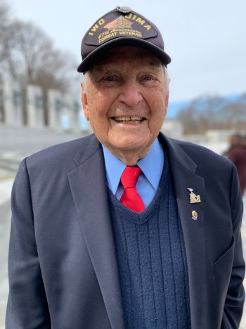 World War II Navy Veteran Ira Miller served as a Seabee with the Marines on Iwo Jima.