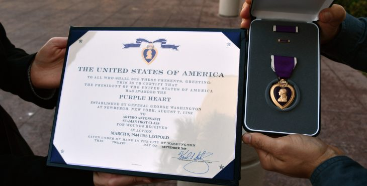 Arturo Antonsanti's Purple Heart Medal and citation.