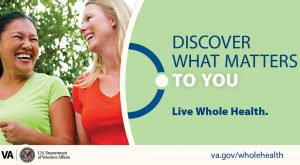 Poster promoting whole health, with two women smiling at each other