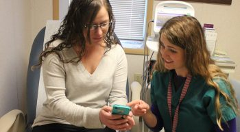 VA nurse educate patient using an app or her phone