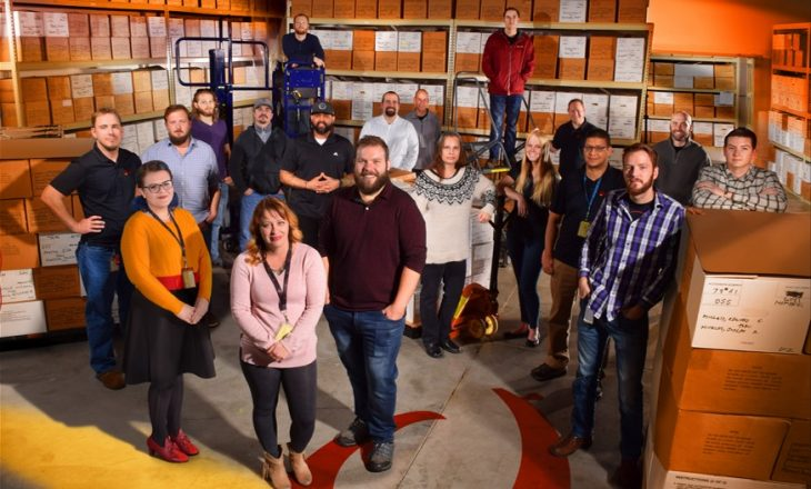The staff of Na Ali'i's Overton, Missouri office., including Dustin Wood, former Marine and Veterans Curation Project alumni. Photo by Daniel Zoernig.