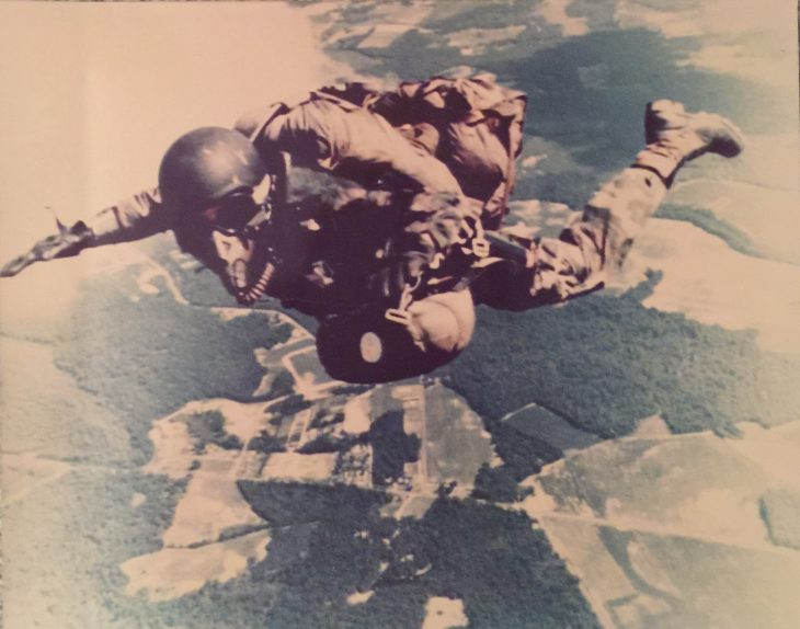 Mark Christianson performs a parachute jump.