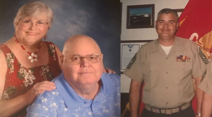 Composite photo of man and his wife and him younger in uniform