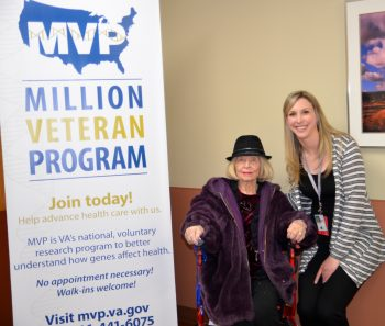 Rosalie Liotta, who served in the women's branch of the U.S. Naval Reserve during World War II, with Kaitlyn Nelsen, the Million Veteran Program research coordinator at the New Mexico VA.