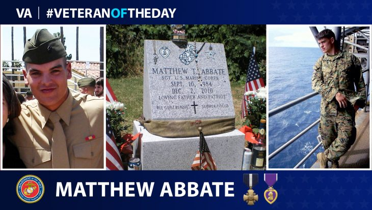 Marine Corps Veteran Matthew Thomas Abbate is today's Veteran of the Day.