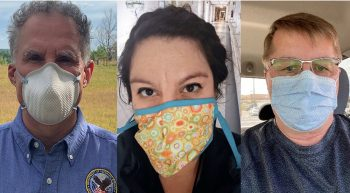 Three members of the Office of Community Care wear masks