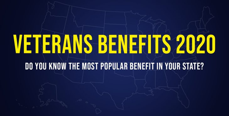 Graphic of U.S. Map outline that reads Veterans Benefits 2020, Do you know the most popular benefit in your state?
