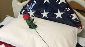 A rose on a pillow with American flag