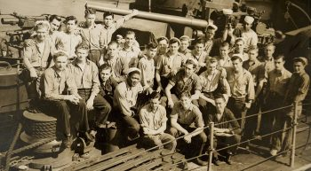 Large group of crewmen aboard US Navy ship