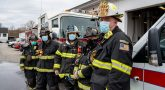 Five firefighters in full protective gear