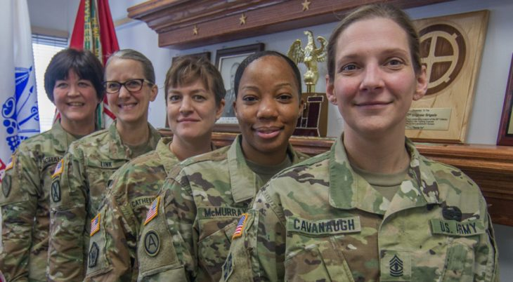 Five women in military uniforms