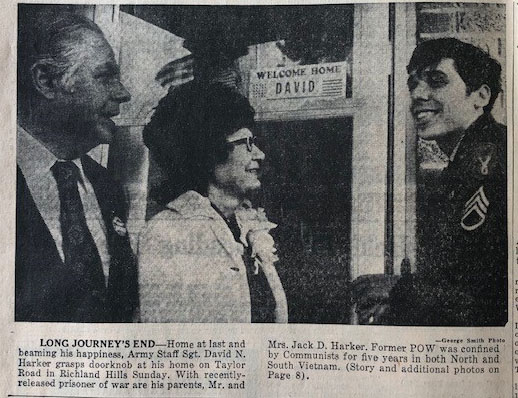 A newspaper clipping shows when David Harker returned home.