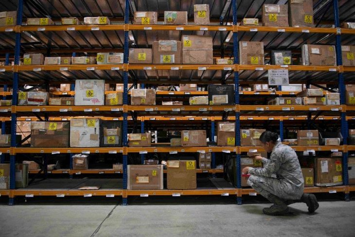 Airman inspecting inventory