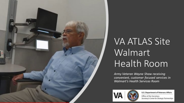 VA ATLAS Site Walmart Health Room - Army Veteran Wayne Show receiving convenient, customer focused services in Walmart's Health Services Room