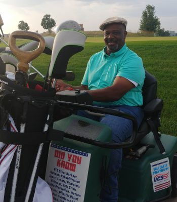 Veteran Michael Whittaker competes in VA Adaptive Sports Tee Tournament.