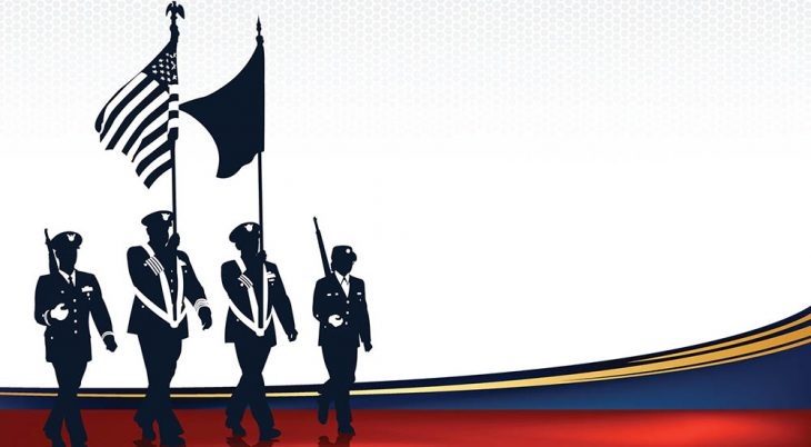 Graphic poster of four soldiers marching with flags
