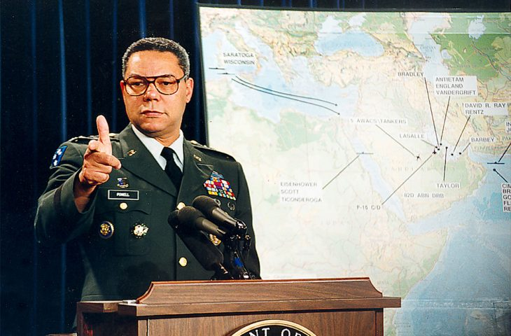 Army Gen. Colin Powell briefs reporters at the Pentagon.