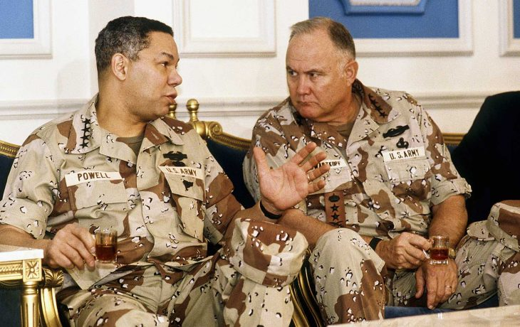 Army Generals Colin Powell and Norman Schwartzkopf during Desert Storm.