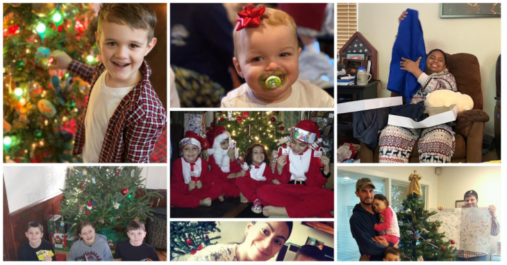 Soldiers angels non profit photo collage of families receiving holiday gifts