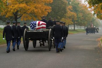 Photo of funeral caisson at Arlington National Cemetery