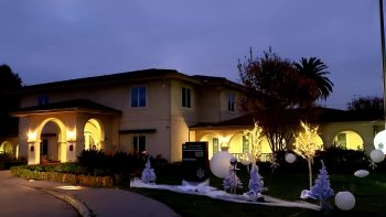 Large apartment home decorated for the holidays