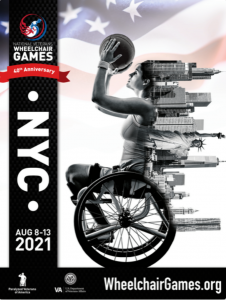 poster of woman shooting basketball in wheelchair