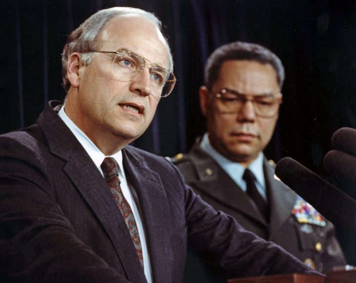 Secretary of Defense Dick Cheney and Chairman of the Joint Chiefs of Staff Army Gen. Colin Powell brief media members in the Pentagon in January 1991.
