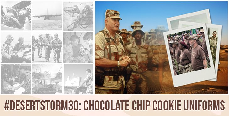 """Though it was first designed in 1962, finalized in 1976, and then standardized in 1990, the Desert Battle Dress Uniform (DBDU)—affectionately known for its """"chocolate chip"""" or """"cookie dough"""" camouflage patterns—defined the U.S. military era known for a single event: Operation Desert Storm."""