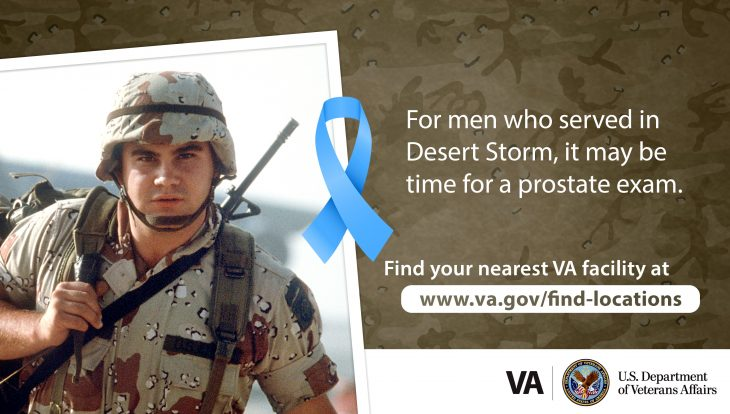 Graphic encouraging Desert Storm male Veterans to get prostate exam.