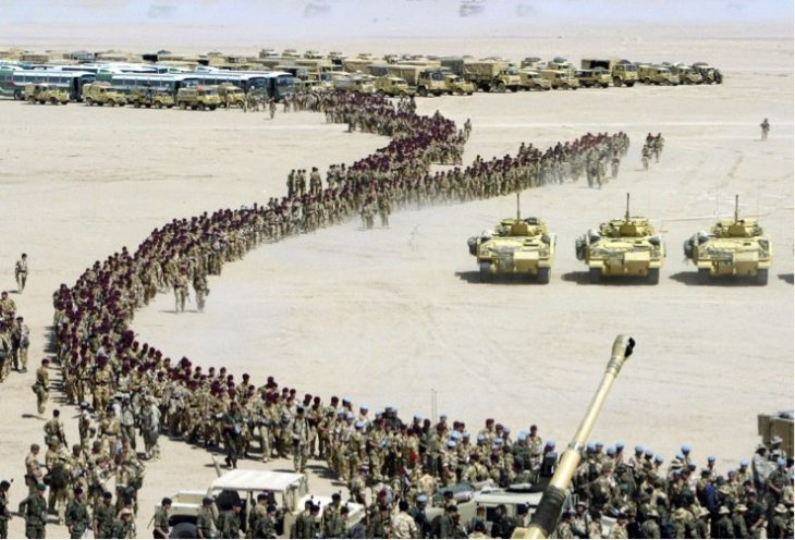 Iraqi troops surrender to U.S. and coalition forces during Desert Storm.