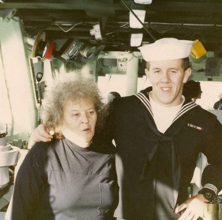 Frawner with his mother aboard Paul F. Foster.