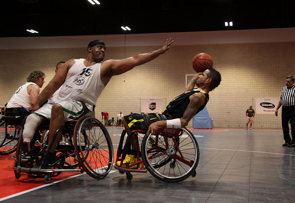 Competitors square-off on the basketball court during the National Veterans Wheelchair Games.