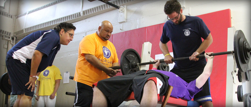 Veteran competing in weightlifting at the Valor Games